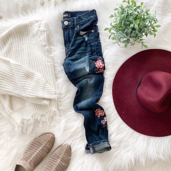 Express Denim - Embroidered Skinny Jeans